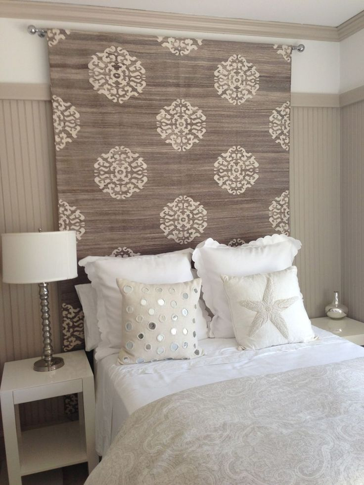 H headboard idea rug tapestry or heavy fabric would for Bedroom ideas headboard
