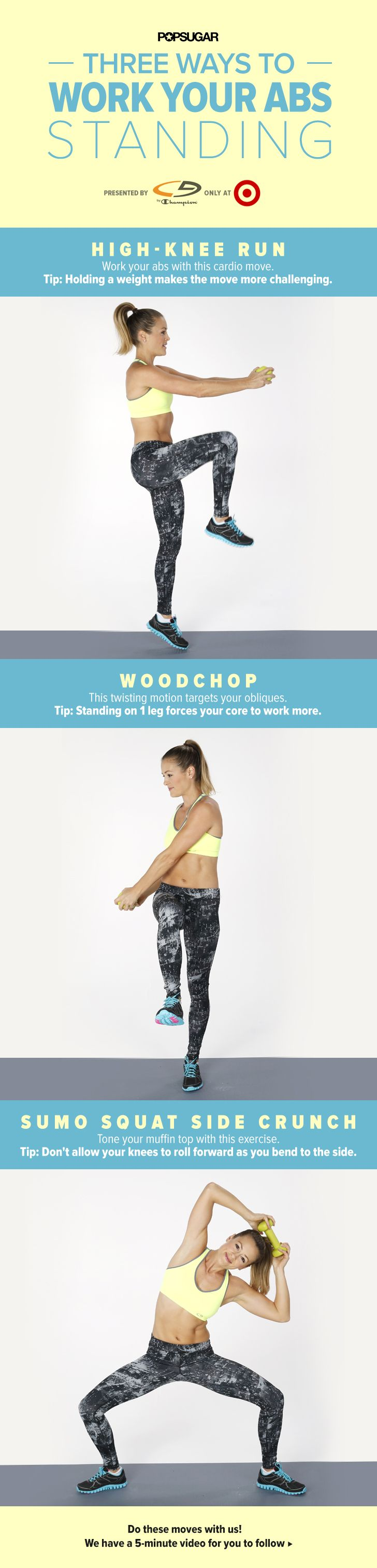 This 5-minute core workout video tones the abs while standing and adding weights to the moves makes them even more effective. This is functional fitness at it's best.