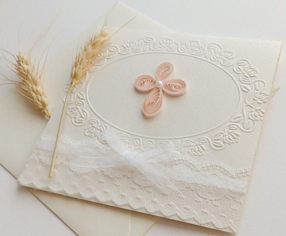 Handmade Christening invitation/Cross invitation/Unique