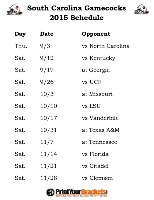 Printable South Carolina Gamecocks Football Schedule 2015