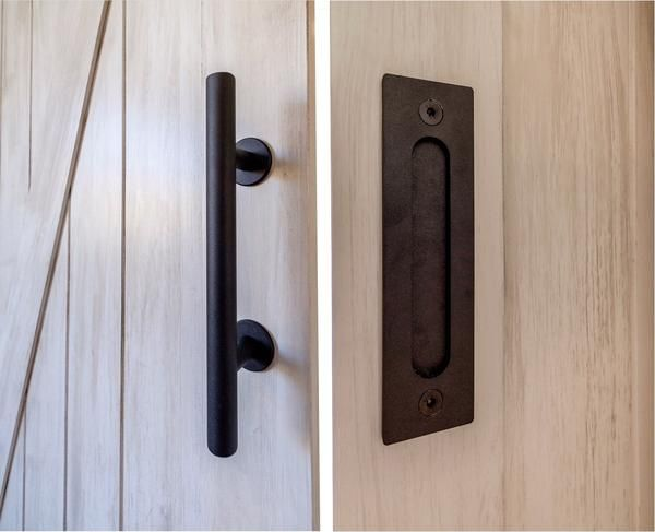 12 Round Barn Door Pull With Flush Plate Latch Matte Black Barn Door Handles Door Handles Barn Door Handles Hardware