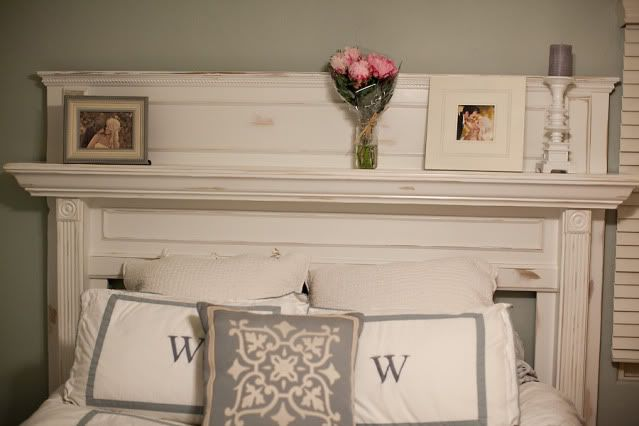 Mantle made into a headboard. So pretty!