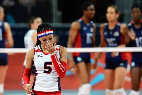 | Republic's Brenda Castillo reacts during the quarterfinal volleyball ...
