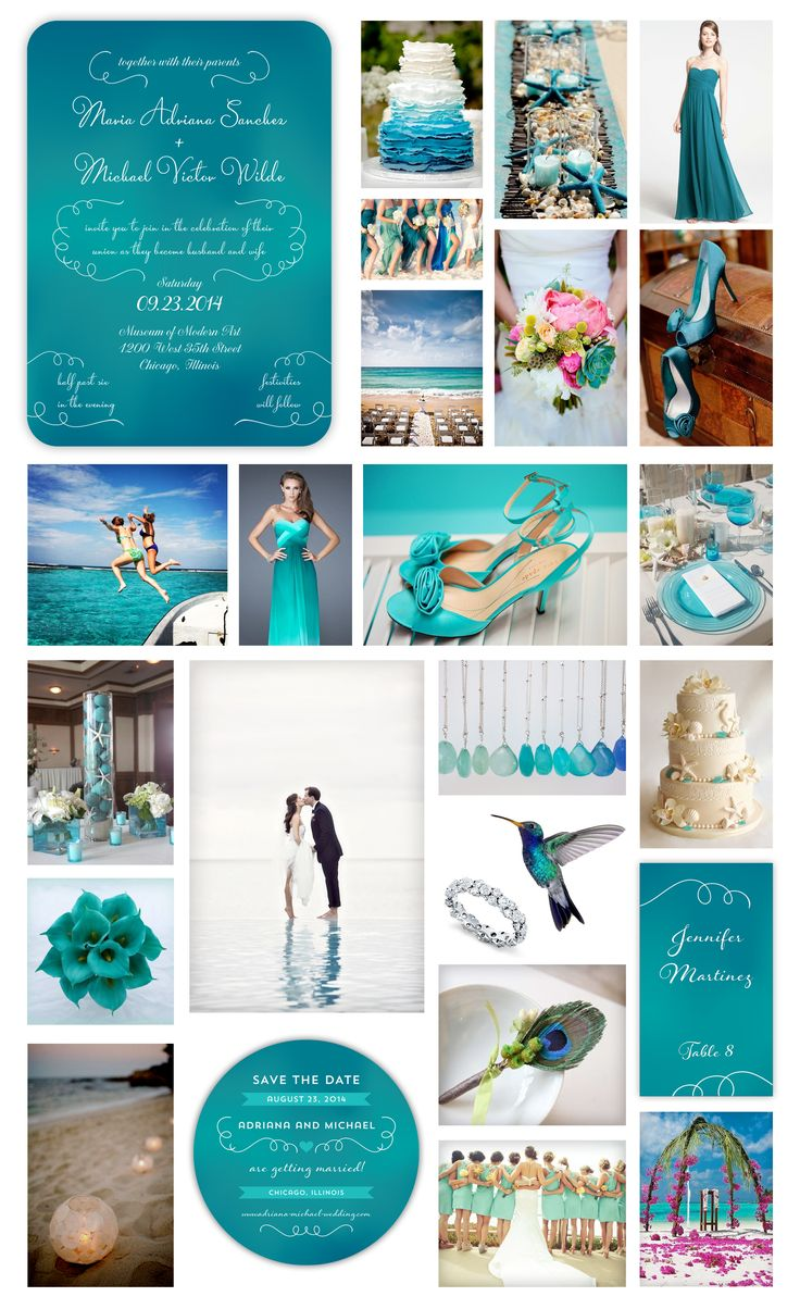 "Blue Ombre Beach Wedding Inspiration - ""Under the Sea Wedding"" - Poolside Wedding - Underwater Teal Ombre Wedding Invitation, Round Save the Date Card and Place Card designed by Lauren DiColli Hooke for KleinfeldPaper.com"