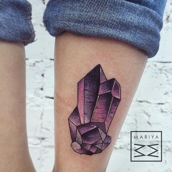 Beautiful Amethyst Crystal dotwork Tattoo by Mariya (Russia)
