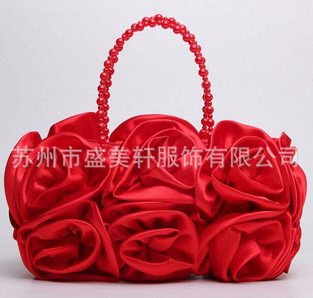 New arrival Rose Flower Pearl handle bride wedding evening dress bags bridesmaid handbag good Silk material