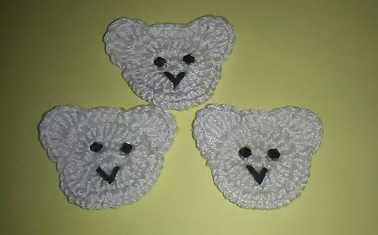 Handmade Crochet Bears  Applique for Sewing, Scrapbooking, Cardmaking, Blankets, Children's Clothes, Nursery Decoration, Crafts, 3 Pcs. by Lacasadellafata on Etsy