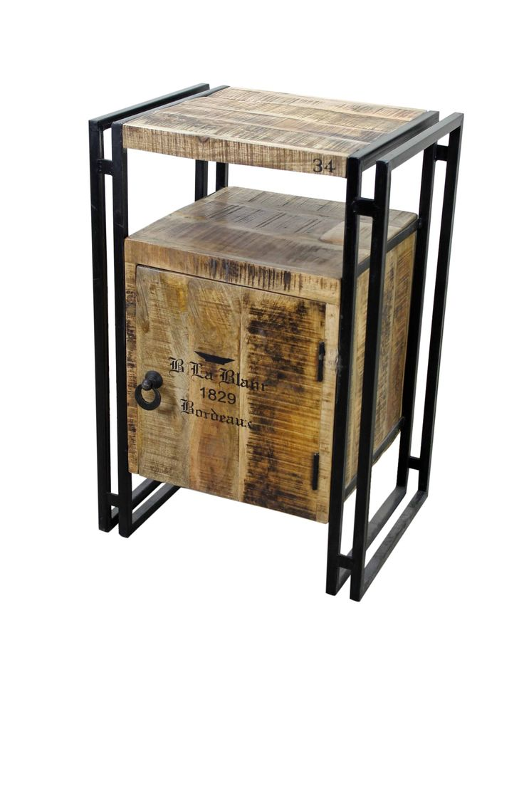 Iron and wood furniture - Industrial Style Iron And Wood End Table Vintage Home Decor Distressed Furniture