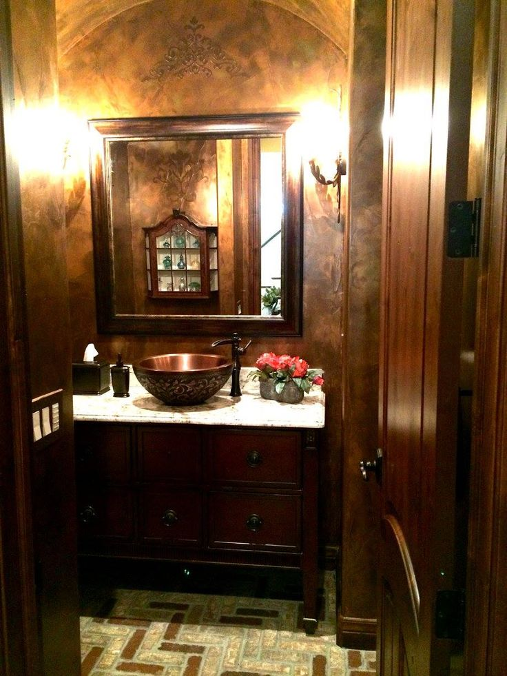 Powder Room With Copper Fixtures And Bronze Aqua Wax Wall Finish