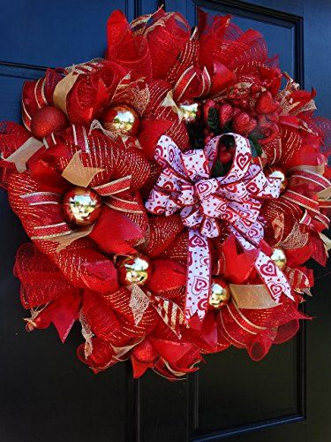 Amazon Com Valentines Day Deco Mesh Wreath Red And Gold Front Door