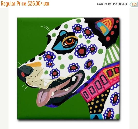 45% Off Today- Dalmatian art Tile Ceramic Coaster Print of painting by Heather Galler dog