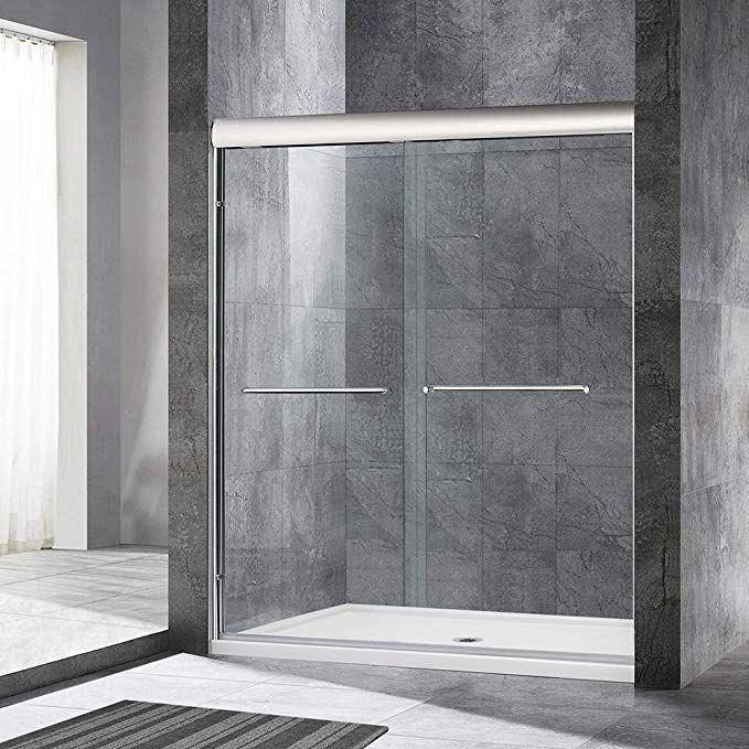 Woodbridge 60 X 72 Double Sliding Frameless Shower Door 56 To 60 By 72 Brushed Nickel Fini Bypass Sliding Shower Doors Sliding Shower Door Shower Doors