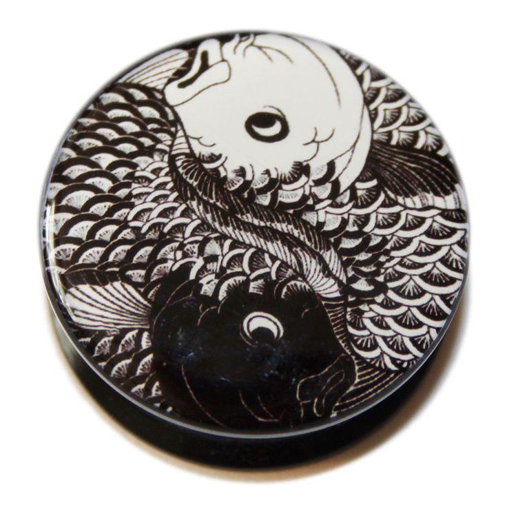 Eros Body Jewellery - Black and White Yin Yang Koi Carp PMMA Acrylic Screw-Fit Flesh Plug, £5.49 (http://www.justeros.com/black-and-white-yin-yang-koi-carp-pmma-acrylic-screw-fit-flesh-plug/)