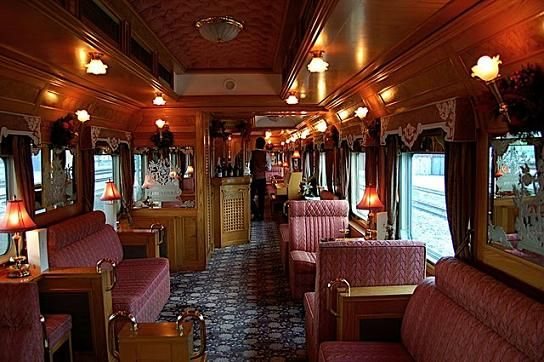 The luxurious lounge on the Eastern and Oriental Express