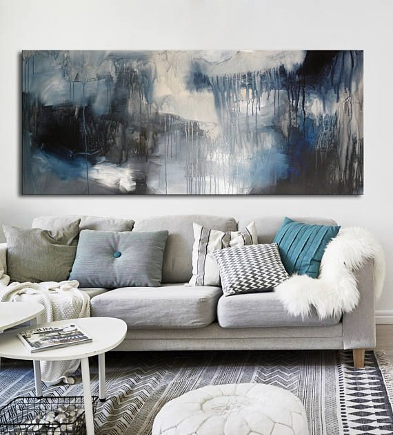 Large black and white long Abstract acrylic painting on print £62.56