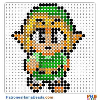 Link de Zelda plantilla hama bead. Descarga una amplia gama de patrones en formato PDF en www.patroneshamabeads.com