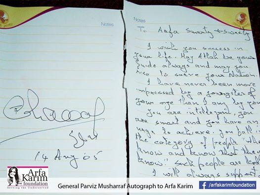 General Pervaiz Musharraf autograph to Arfa Karim.