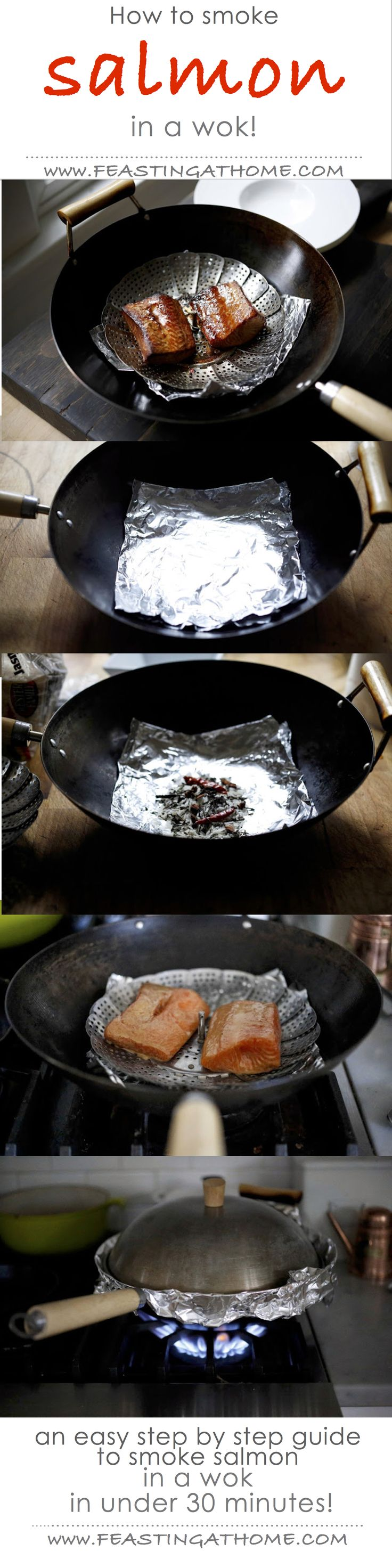 How to smoke salmon in a wok...in less than 30 minutes! | www. feastingathome.com