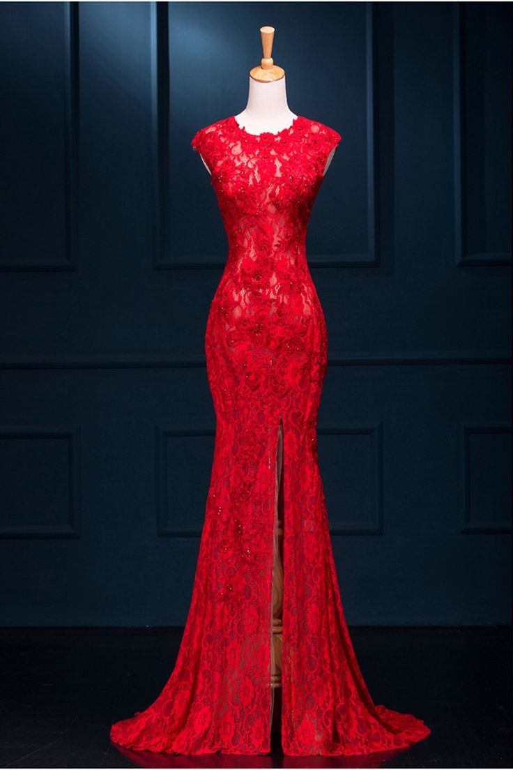 Long Sexy Red Lace See Through Split Meamaid Prom Evening Dresses