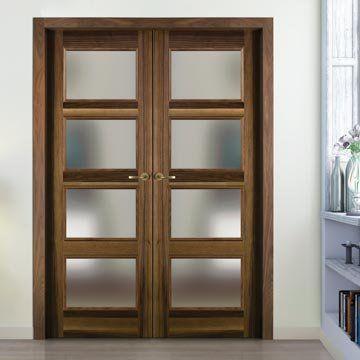 Sanrafael Lisa Glazed Double Door - L60VA4 Prefinished Balanced Band Walnut. #doubledoors #internaldoubledoors #glazeddoors