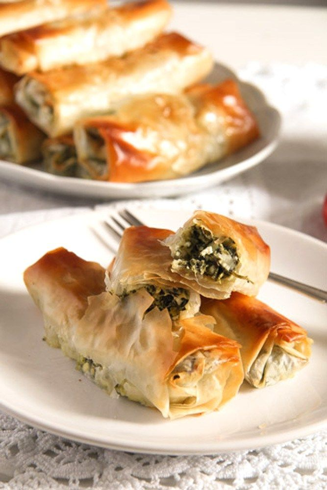 Baked Albanian Spinach Rolls with Feta