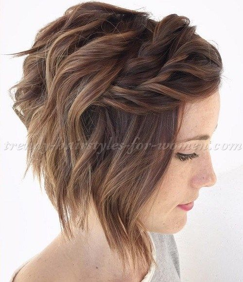 wavy A line bob hairstyle with twist braid