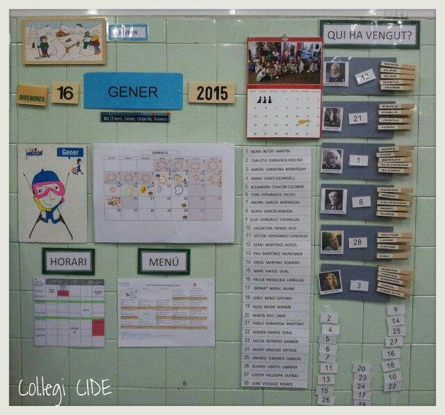 Plafó de rutines: calendari, data, temps, horari, menú i encarregats. 5 anys.