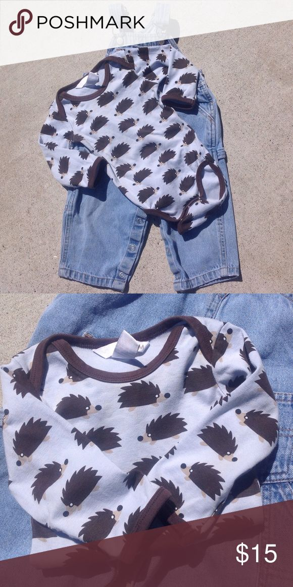 Old Navy Overalls and H&M Porcupine Onesie - 6-9M Size 6-12 months denim overalls, 100% Cotton. New condition. Size 6-9 months blue and brown long sleeve porcupine onesie, 100% Cotton. New condition. Old Navy adn H&M Matching Sets
