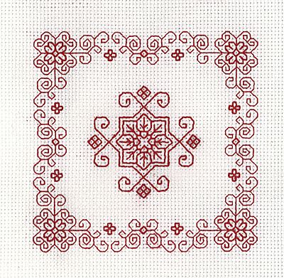 Red Patio Mini Blackwork Kit by Holbein Embroideries