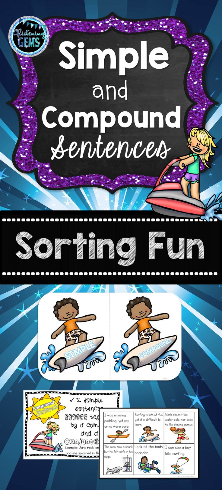 Simple and Compound Sentences Sort Summer Theme - K-3. This kit is available in color or b/w. It includes: sorting headers, sorting cards, teacher instructions, answer sheets, student response sheet and anchor charts.