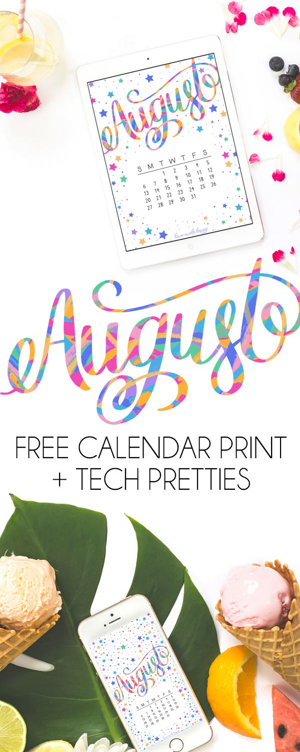 August 2017 Printable Calendar + Tech Pretties. One of my most popular posts each month are these free pretty printables and calendars for your tech!