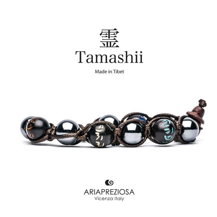 Tamashii - Bracciale originale tibetano (tg. L) realizzato con pietre naturali Ematite e legno orientale autentico con SIMBOLI MANTRA incisi a mano