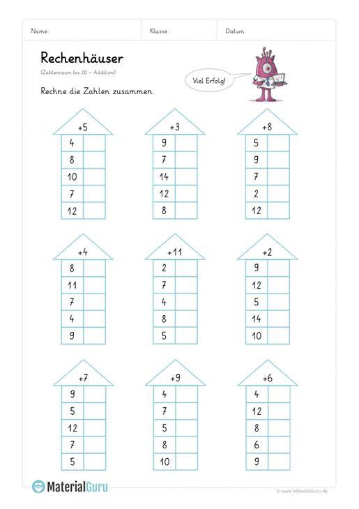 neu ein kostenloses mathe arbeitsblatt zum thema rechenh user f r die grundschule auf dem. Black Bedroom Furniture Sets. Home Design Ideas