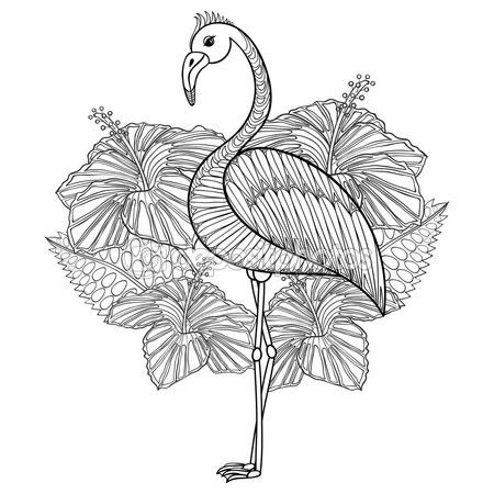 Coloring page with Flamingo in hibiskus, zentangle illustartion — Vector de stock