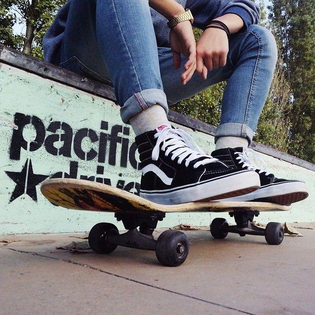 Sk8-Hi's and skateboards. Photo via sanjeye.silva