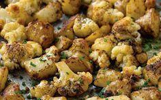 Koolhydraat arm gerecht met bloemkool uit de oven en een slavink.