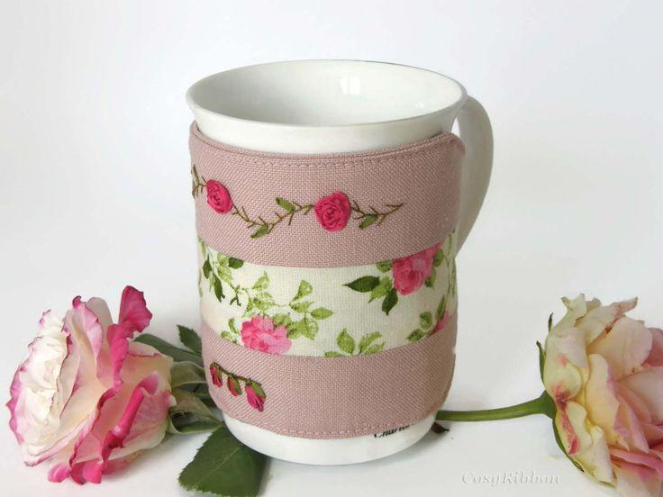 Pink Mug Cozy -Mug Cozy - Mug Warmer - Mug Hug - Linen and Pink Roses Mug Cup Sleeve by cosyribbon on Etsy