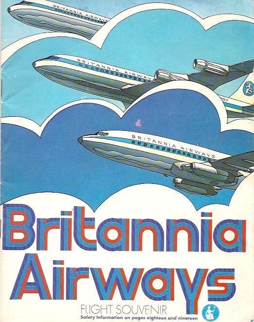 BRITANNIA AIRWAYS BOEING 707 & 737 VINTAGE SAFETY CARD  -Britannia Airways…