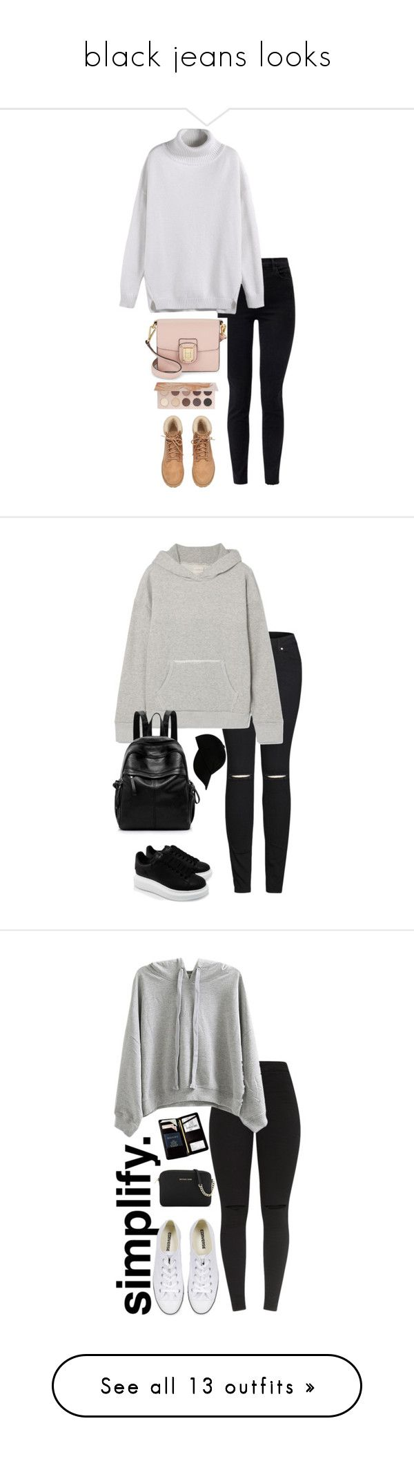 """black jeans looks"" by m-gorodetskaya ❤ liked on Polyvore featuring J Brand, H&M, Sam Edelman, ZOEVA, 2LUV, Simon Miller, Alexander McQueen, STONE ISLAND, Royce Leather and WithChic"