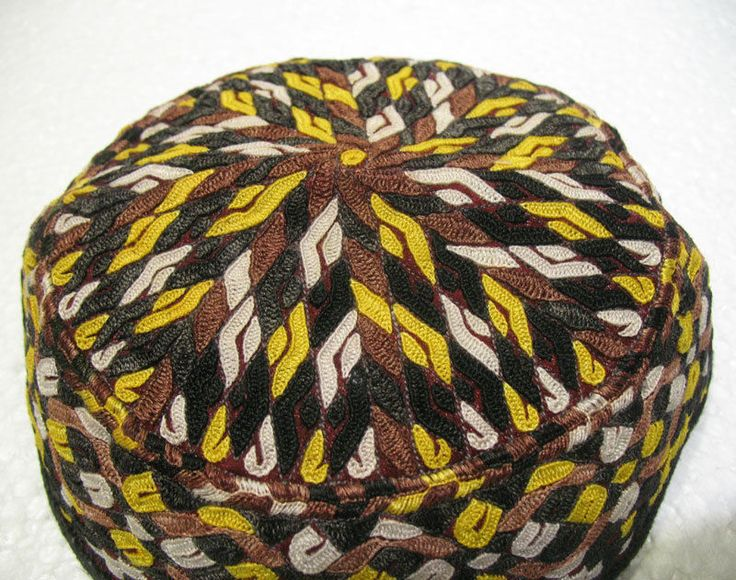 Antique asian fine embroidery hat turkish beret collecion hat vegetable dyes 21