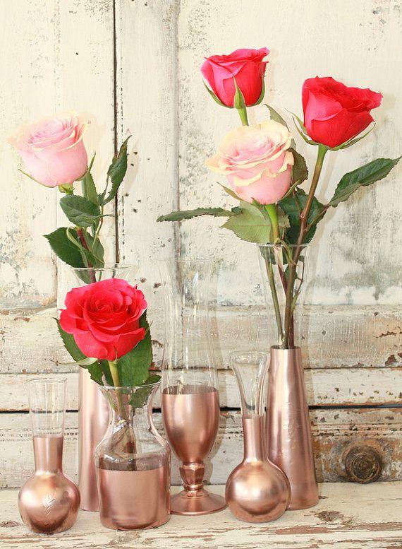 Rose Gold vases gold wedding decor  Set of 6 by thepaisleymoon