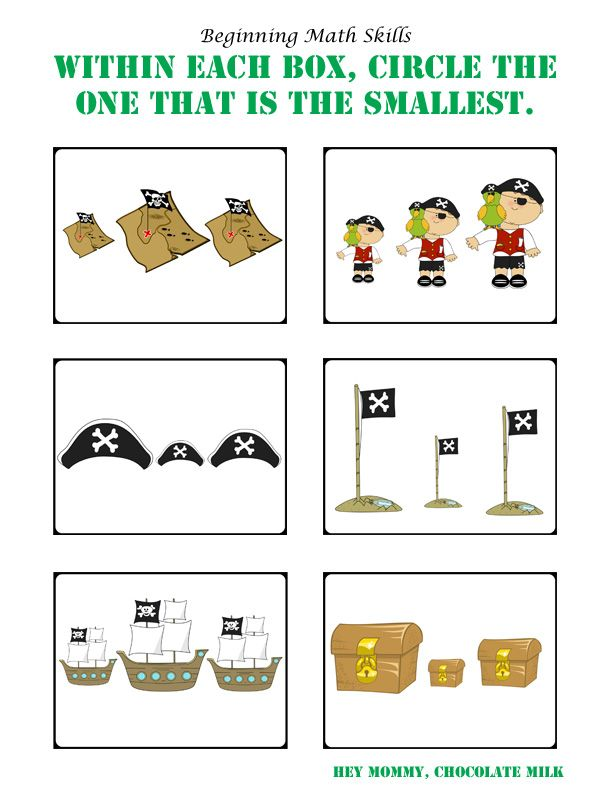 """""""Circle the Smallest"""" Pirate Themed Worksheet"""