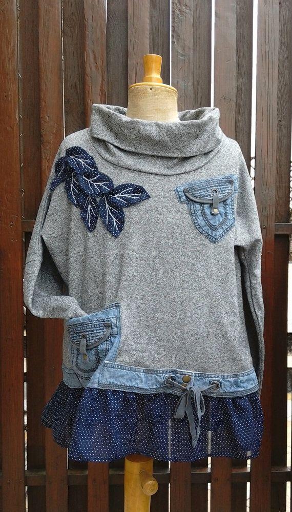 Boho Tunic Dress Women's Upcycled clothing. Oversized sweater / Top Plus Size Tunic Boho Chic XL XXL / carazy