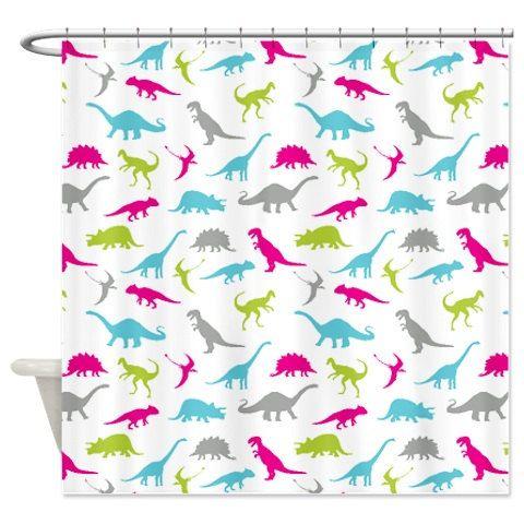 Custom Dinosaur Shower Curtain-Aqua Blue-Hot Pink-Grey ...