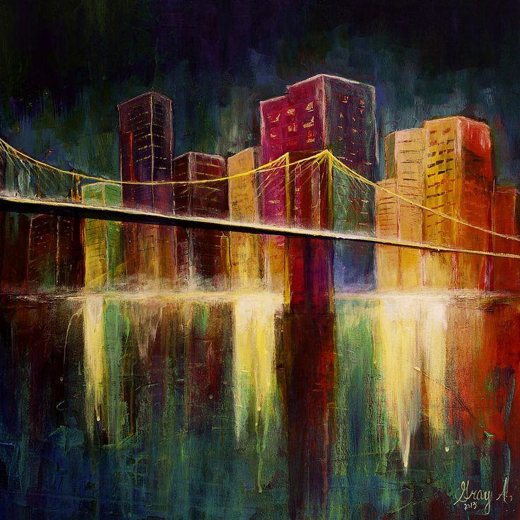 Brooklyn Bridge Bridge Painting Abstract City Painting
