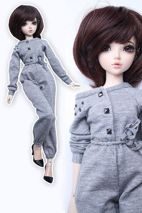BJD MSD 1/4 grey studs fashion jumpsuit all in by ADollyCreations, $20.00