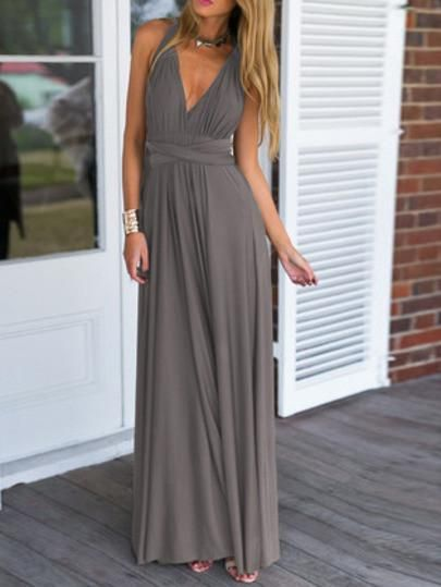 Summer Beach Maxi Dress in Grey with V Neck. This is the perfect dress for your spring summer collection. Wear it on vacation to the beach or for a relaxing day