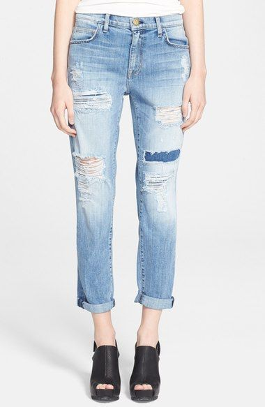 Current/Elliott 'The Fling' Destroyed Rolled Jeans (La Repair) (Nordstrom Exclusive) available at #Nordstrom