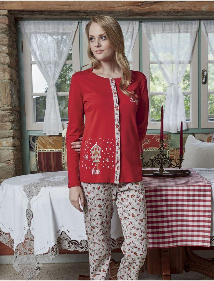 PJS Pjs Kışlık Pijama Takımı 1420 #gizliçekmece #lohusapijama #kadınpijama #yenisezon #kadıngiyim #evgiyim #aqua