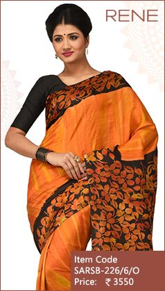 #ReneIndia #Orange #Batik #Print #Handloom #kolkata #bengali #bengalee #Ethnic #Traditional #FestiveWear #Silk #Saree available only on #Flipkart #Paytm #Snapdeal